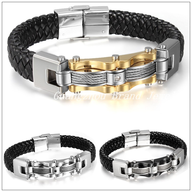 """8.86""""*14mm 44.7g High Quality Wire Chain Men's Boy's Bracelet Bangle Black Genuine Leather Silver Gold Black Stainless Steel(China (Mainland))"""