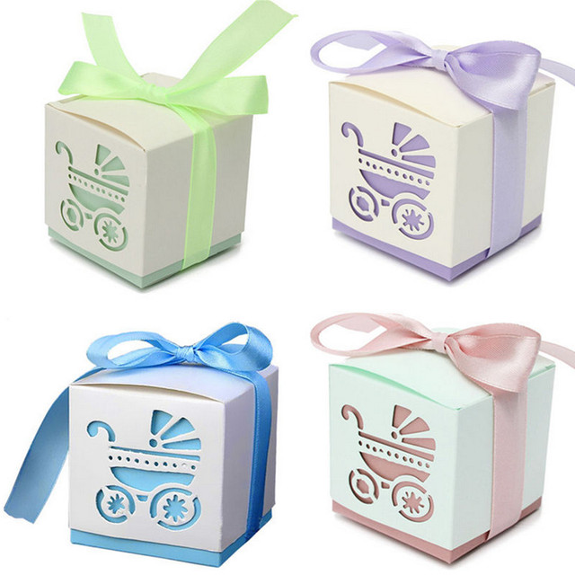 Candy Ribbon Gift Boxes for Baby Shower, 10 pcs
