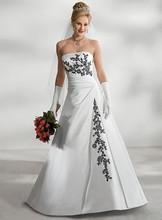 Popular Wedding Dress A-line Satin Appliques Wedding Dress Vestido De Noiva robe de mariage Wedding Gown S26031509(China (Mainland))