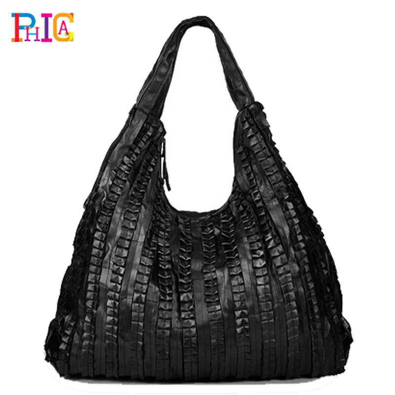 3 Size!! genuine leather bags for Women ruffle Black Ladies handbag Suede shoulder bag female PH11(China (Mainland))