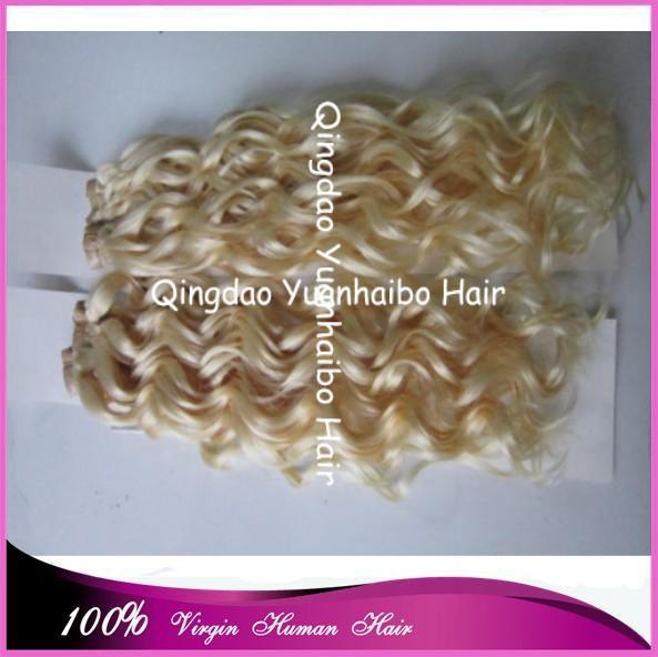 Фотография New Fashion 7A Grade! #613 virgin peruvian hair skin weft blonde curly tape hair extension, 300gram, free shipping