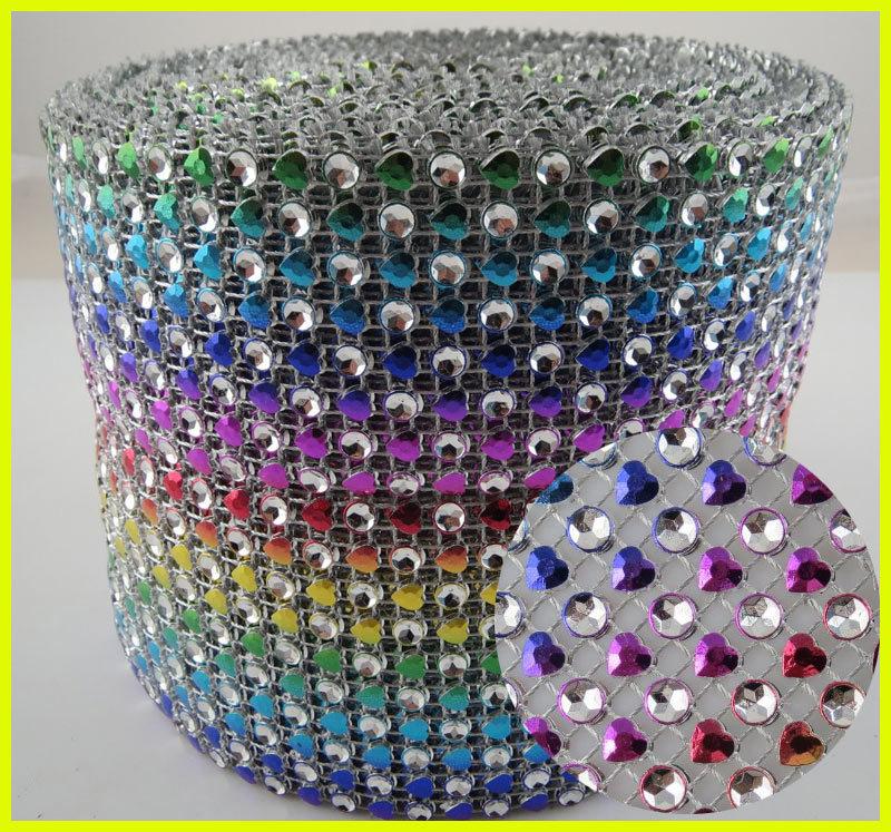 Rainbow Heart Design 10 Yards 24 Rows Diamond Crystal Mesh Roll(China (Mainland))
