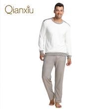 Autumn&Winter Long-sleeved Bamboo Fiber Splicing Lovers Pijamas Casual Leisurewear Suit Men Women Pyjamas Couples Pajama Sets(China (Mainland))