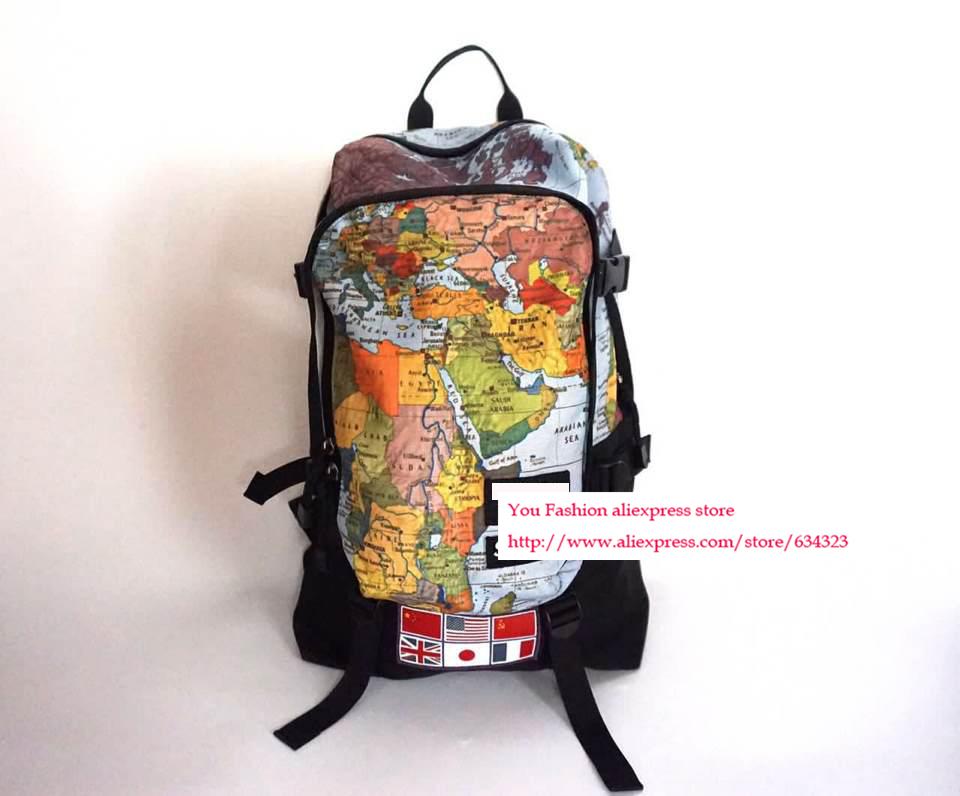 New arrival suprem coopreration face world map backpacks shoulder bag schoold bag backpack<br><br>Aliexpress