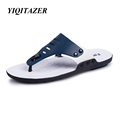 YIQITAZER 2017 High Quality Summer Beach Sandals Man Leather Slippers Men Designer Mens Flip flops Slides
