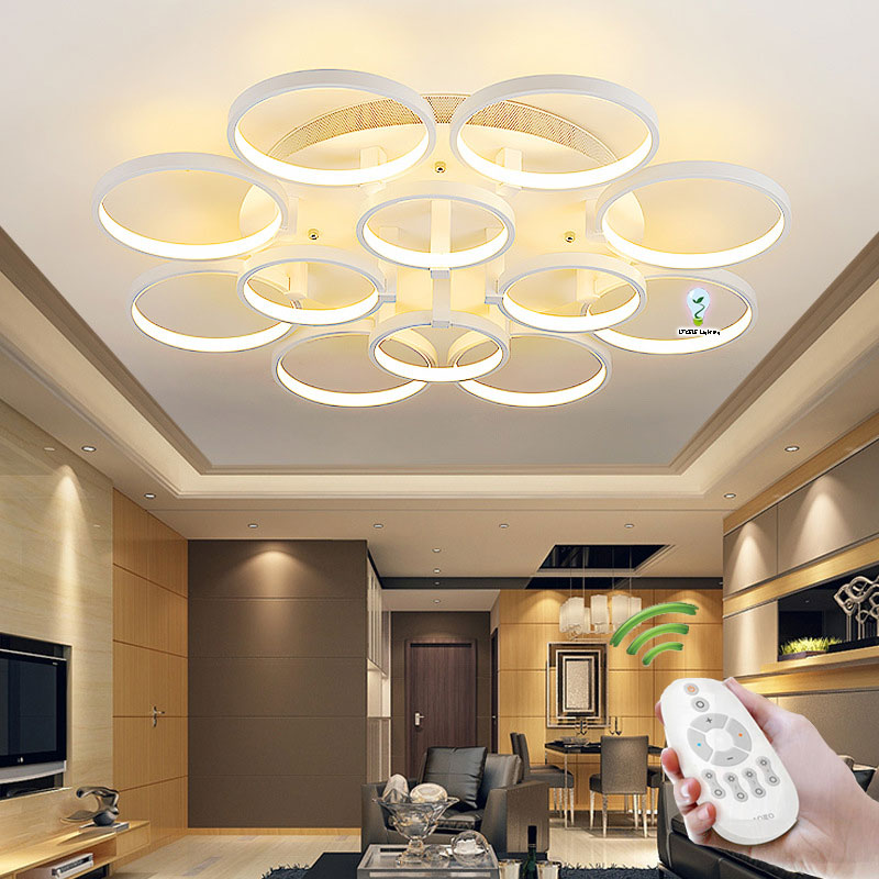modern ceiling lights for living room bedroom kitchen light lamp circle rings design plafonnier. Black Bedroom Furniture Sets. Home Design Ideas