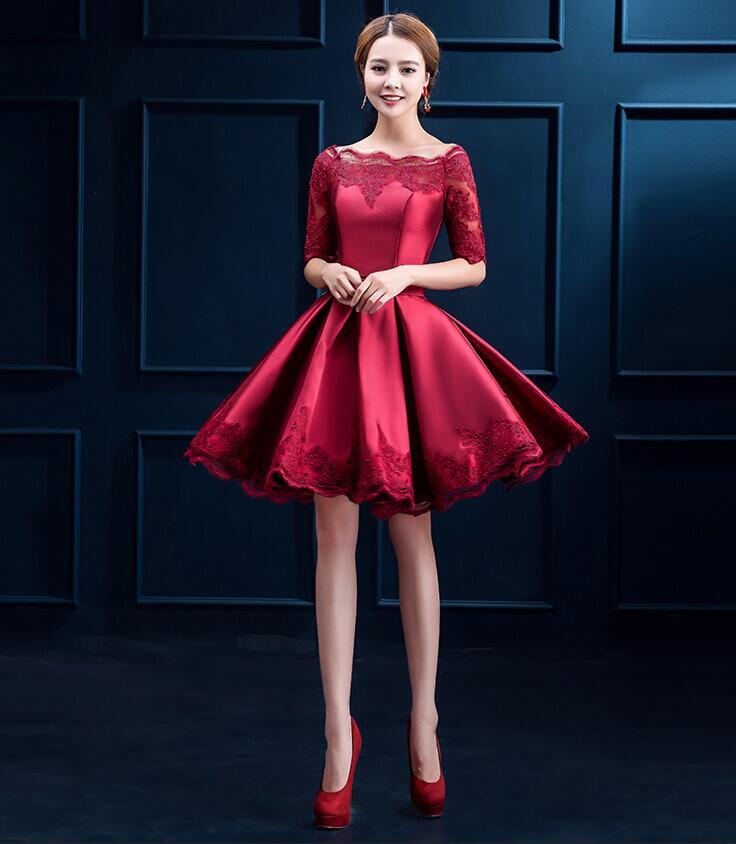 Jersey Slash-Neck Empire Half Sleeve Knee-Length Women's Elegant Formal Pleated A-Line Dress Embroidery Princess Dress S-5XL