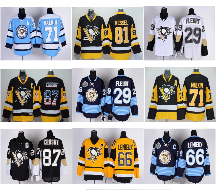 Cheap 2016 Stanley Cup Finals Patch #87 Sidney Crosby #81 Phil Kessel #71 Evgeni Malkin #58 Kris Letang Stitched Hockey Jersey(China (Mainland))