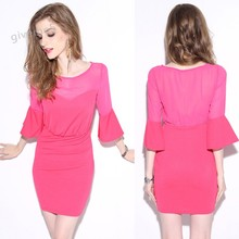 Buy Drop Vestidos Sexy 2015 New O Neck Chiffon Bodycon Mini Casual Dress Women Flare Sleeve Lace Dress Spring Summer 51 for $9.93 in AliExpress store