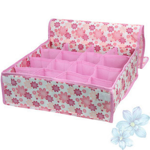 Hot Sale 3 Pcs Folding 16 Grid Storage Box for Bra,Underwear,Socks Non Woven Fabric Good Air Permeability Storage Bag(China (Mainland))