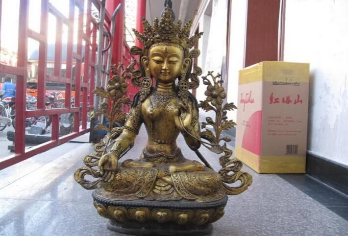 "150624 S2189 28"" Tibet Buddhist Fane bronze Gild Seven Eye White TaRa padma Kwan-Yin Buddha(China (Mainland))"