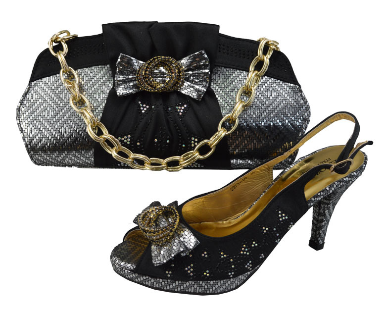 GF20AItalian Matching Shoes And Bags Set For Party Italian Shoe And Bag Set With Rhinestone ...