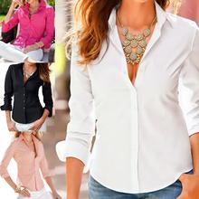 Blusas Femininas Turn Down Collar 2016 Elegant Fashion Slim Long Sleeve Blouse Formal Ladies Office Shirts Black(China (Mainland))