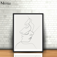 KISS - Picasso Minimalist Art Canvas Poster Painting Black White Linear Art Abstract Picture Print Modern Home Room Decor(China (Mainland))