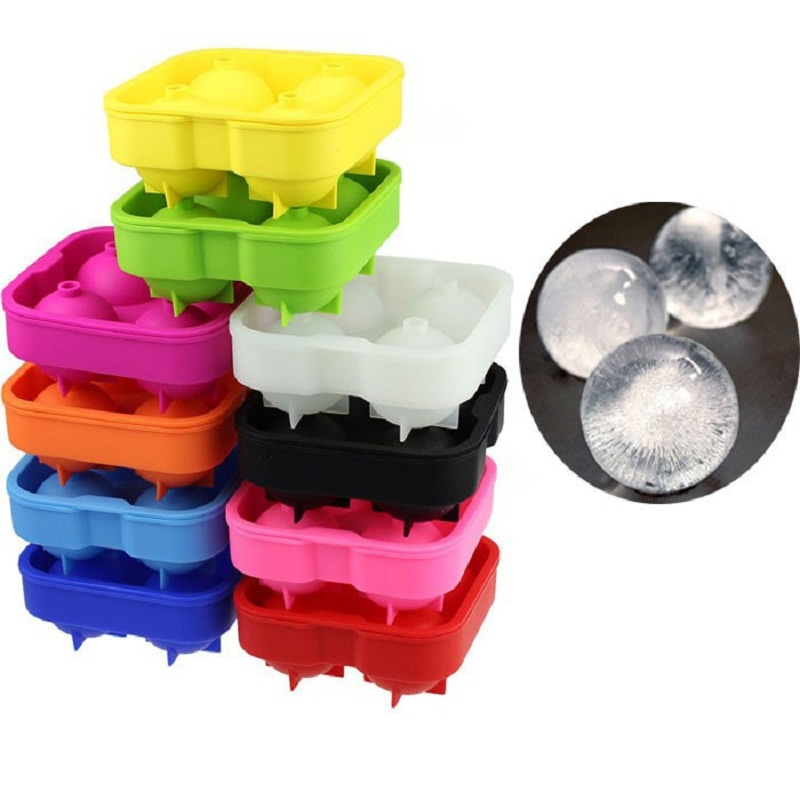 Silicone Whiskey Ice Cube Trays Maker Spherical Molds For Ice Cream Ball Four Large Sphere Mould Frozen Ice cream tools TB30(China (Mainland))
