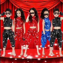 Modern children's hip — hop jazz dance performing clothes boys and girls Five Star patent leather suit for Holiday celebrations
