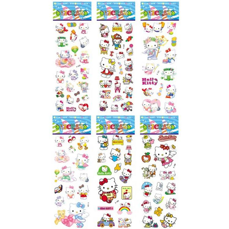 New 2016 6pcsset Hello Kitty Foam Cartoon 3D Sticker