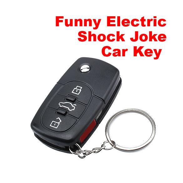 Black New Mini Electric Shock Gag Joke Prank Car Key Remote Control Fun High Quality(China (Mainland))
