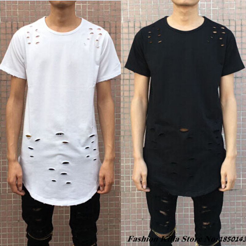 New Fashion Oversized Mens Distressed T Shirt Curve Bottom