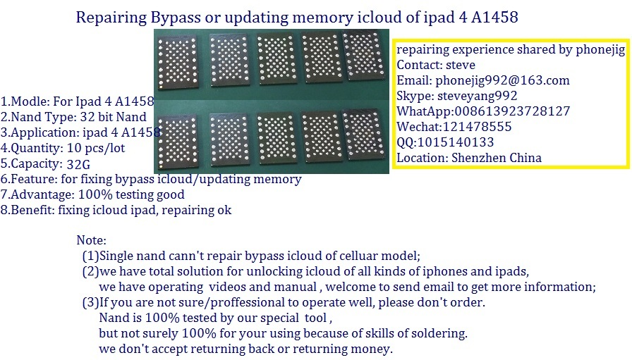unlock ipad4 nand flash 32G serial number,clean sn,ipad hdd chip bypass A1458 icloud ipad 4,100% free ship 10pcs