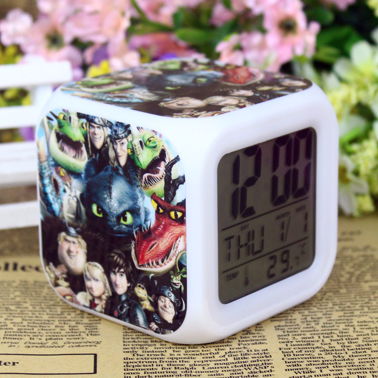LED 7 Colors Change Digital Flash Touch Alarm Clock how to train your dragon night colorful glowing toys 12-19-YS(China (Mainland))