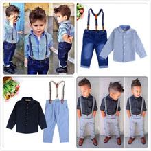 Retails 2015 fashion boys clothing set 2pcs set shirt+suspender pants Stylish kids suit 2 designs boys outfit(China (Mainland))