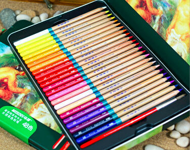 product 48colors/set watercolor pencil sets water-SOLUBLE box colored pencils ART-SET articulos de papeleria stationery set 3120-48TN