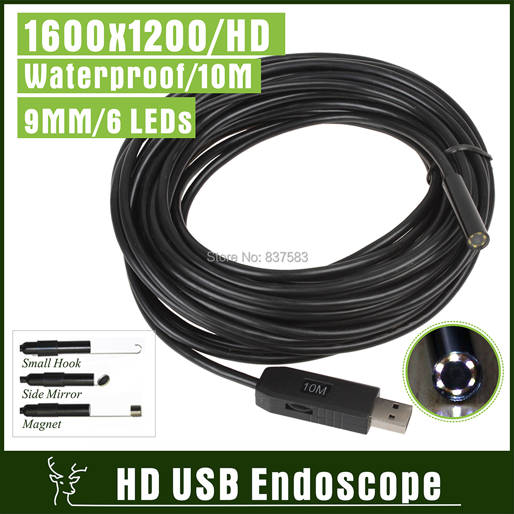 1600x1200 6LED CMOS USB Camera Endoscope HD 10m Cable IP67 Waterproof Camera Video Inspection Borescope Snake Pipe Cam with 9mm(China (Mainland))
