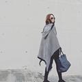 New Scarf Women Tartan stripe Geometric pattern Tassels scarves hooded cloak desigual Cozy Checked Blanket Oversized