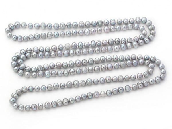 Long rope 8-9mm Natural Grey Freshwater Pearl Necklace - 160cm of Pearls(China (Mainland))