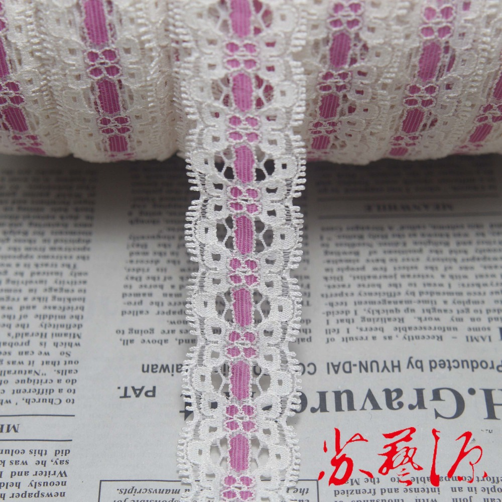 A roll 260 yards 27mm width cream Elastic Stretch Lace trim DIY headband sewing/garment accessories F16(China (Mainland))
