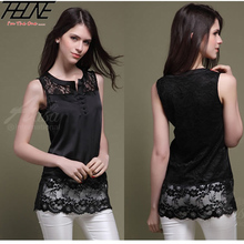 Summer Women Lace Tank Tops Long Sexy Hollow Out Sleeveless Silk Shirt High Quality Black S-L(China (Mainland))