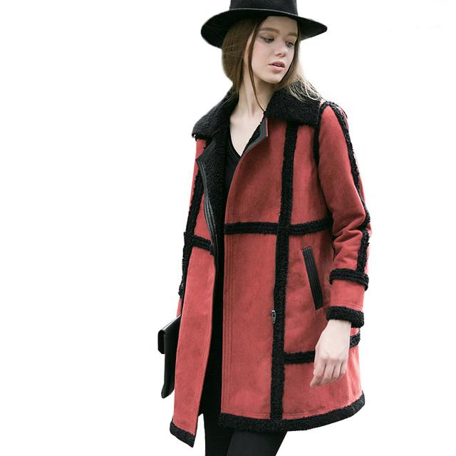 2016 женщины открыть стежка замши теплый ветер пальто куртка куртка длинные мода зима верхняя одежда абстрактный цветок печати плюс размер