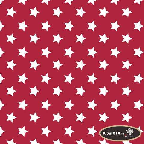 NO.HFJ0107,Width 0.5M,10m white stars red Water Transfer Printing Film Hydrographic Film for hydro dipping(China (Mainland))