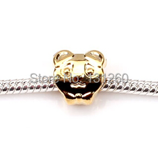 1PC New Gold Cute Beads charm bear European Style Fashion Jewelry Big Hole 4.5mm - Helmet & Accessories store