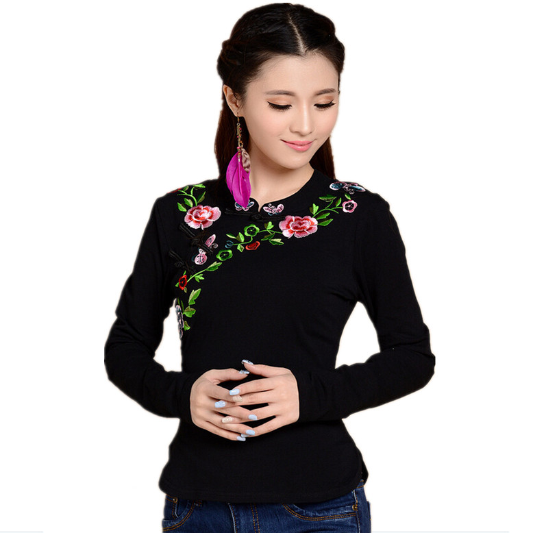 Buy chinese national style embroidery for Name brand t shirts on sale