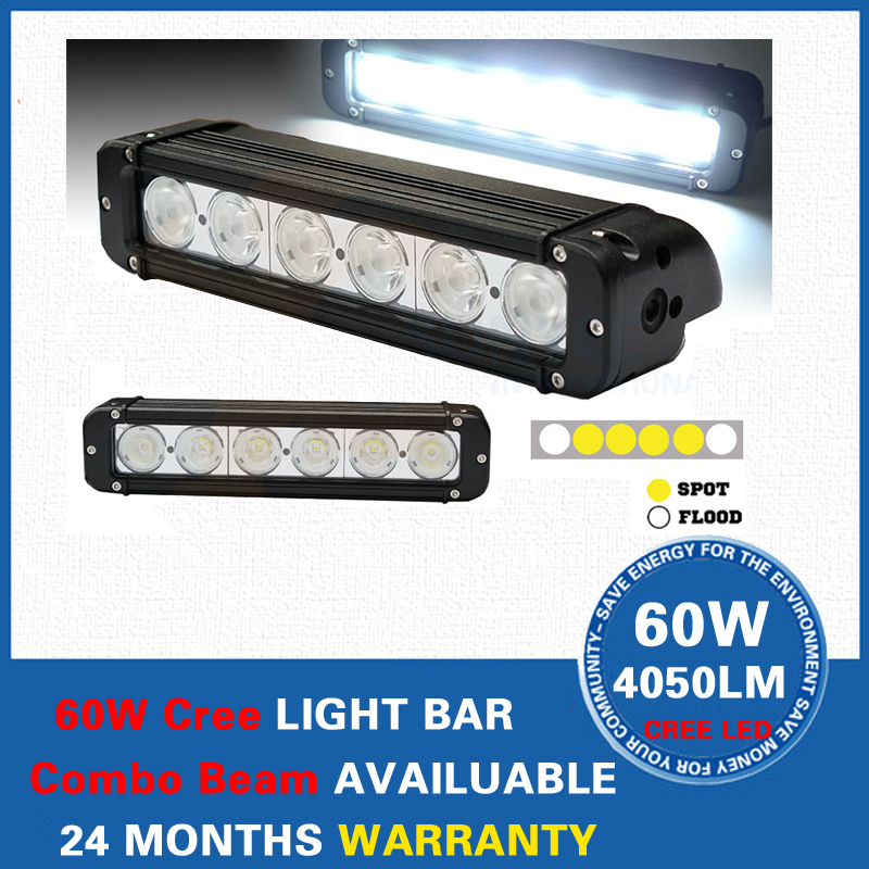 11 inch 60W Cree LED Light Bar Work Lamp Tractor Boat OffRoad 4WD 4x4 Truck Trailer SUV ATV Motorcycle External - Auto Store store