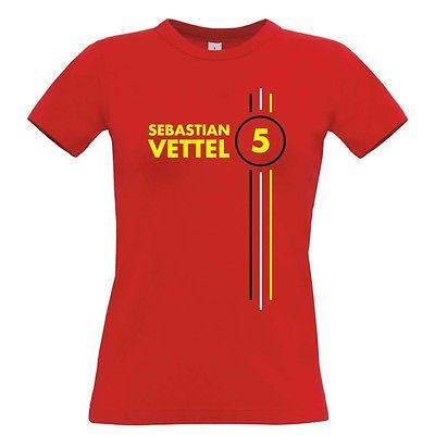 sebastian vettel number 5 womens t shirt formula 1 driver. Black Bedroom Furniture Sets. Home Design Ideas
