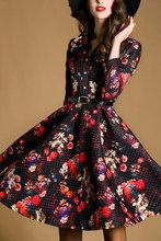 Prints autumn dress 2015 women clothes ,long sleeve floral ladies dress, work dress, winter dress plus size