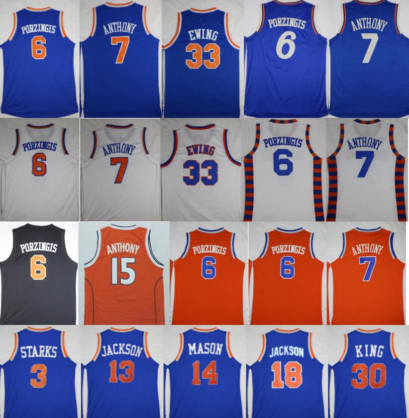 Basketball 6 Kristaps Porzingis Jerseys 7 Carmelo Anthony 3 John Starks 33 Patrick Ewing,Phil Jackson,Mark Jackson,Anthony Mason(China (Mainland))