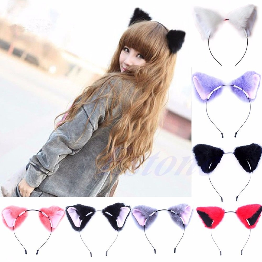 Free shipping Fashion Girl Cute Cat Fox Ear Long Fur Hair Headband Anime Cosplay Party Costume(China (Mainland))