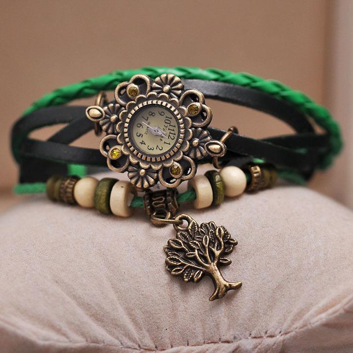 Braided bracelets retro vintage watch ladies leather strap friendship handmade women wristwatch leaf pendant - Gnomon Industry Co., Ltd store