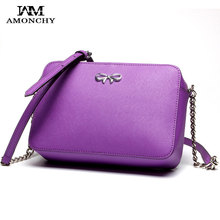 New Arrival Bow Women Bags Genuine Leather Woman Shoulder Bag Designer Chain Ladies Messenger Crossbody Bags Import Handbags S66(China (Mainland))