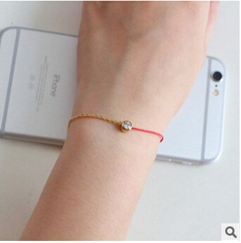 2015 Hot Selling! Simple Red Rope Rose Gold Half Red Rope Line Single Crystal bracelets Bangles For Women Jewelry Free shipping(China (Mainland))