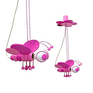 Lovely pink bee shape modern led pendant lights hanging for Hanging lights for kids room
