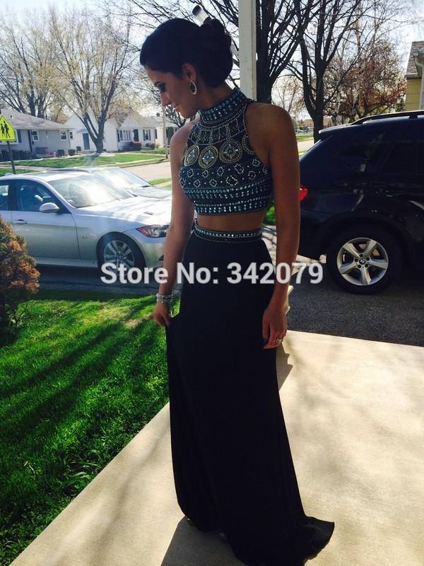 ph15393 Elegant Two Piece Long Prom Dress with Specail Design Beadings two piece prom dress(China (Mainland))