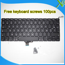 """Brand New AZERTY FR French keyboard+100pcs keyboard screws For MacBook Pro 13.3"""" A1278 2008-2012 Years(China (Mainland))"""
