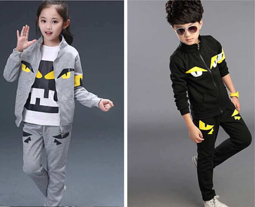 2015 fashion Autumn personality cartoon monster Children's clothing Sets boys and girls t-shirt+jacket+pants 3pieces sport suit(China (Mainland))