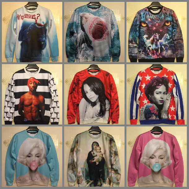 2014 Fashion Women/Men printed Pullovers 3D sweatshirt Girl sweaters casual Hoodies top - Chinaboy store