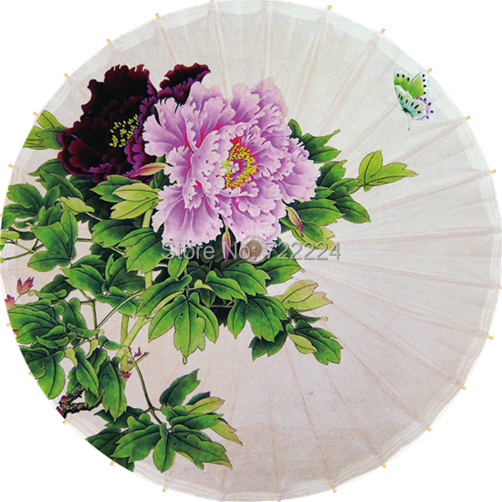 Free shipping chinese colorful peony picture umbrella antique handmade blue peony dance, collection,props oiled paper umbrella(China (Mainland))